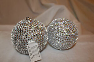 Christmas-Tree-Decoration-2-Hanging-Silver-Glitter-Sparkle-Bauble-Ball-ornaments