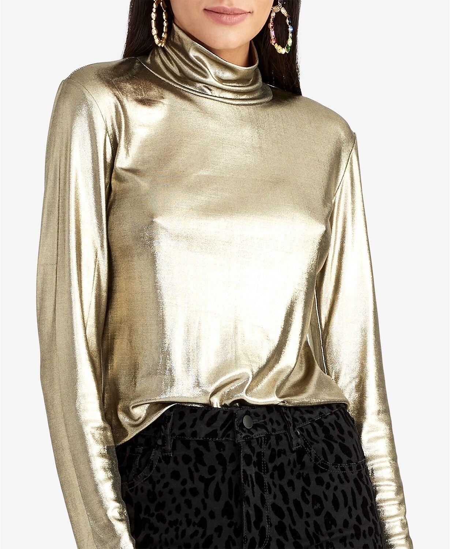 Rachel Rachel Roy Metallic Jersey Turtleneck Top Gold XSmal New With Tag