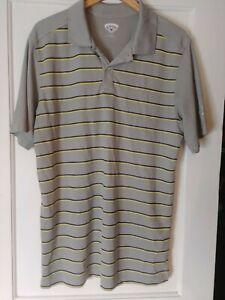 CALLAWAY-Sport-Golf-Polo-Men-039-s-Size-XL-100-Polyester-Gray-Striped-Shirt