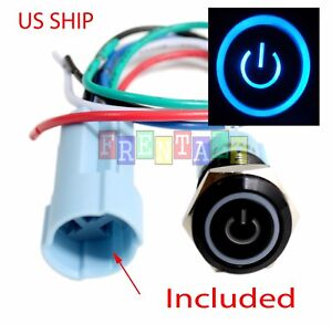 Connection adapter 16mm Blue On Off LED 12V Momentary Push Button Power Switch