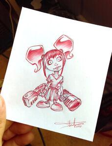 DESSIN-ORIGINAL-au-stylo-Bic-rouge-10x11-5cm-Unique-et-signe-Poupee-Gladys