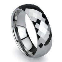 Nice Men's 8mm Tungsten Carbide Wedding Ring Band Cubic Zirconia Size 9-12