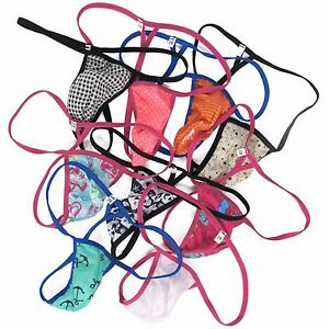 K799-CP-Mens-Sexy-String-Thong-Pouch-Cotton-Polka-Dots-etc-Triangle-Back
