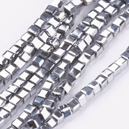 10 Strds Electroplate Glass Cube Beads Faceted Full Plated Tiny Loose Bead 2x2mm