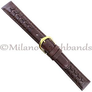16mm-Speidel-Brown-Flower-Leaf-Patterned-Padded-Genuine-Leather-Round-Edge-Band