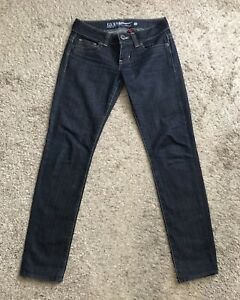 GUESS-Womens-Size-28-Dark-Wash-Denim-Skinny-Blue-Jeans-32-5-034-Inseam