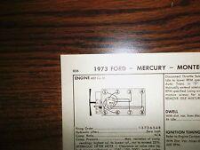 1973 Ford & Mercury Code S 400 CI V8 2BBL SUN Tune Up Chart Great Shape!