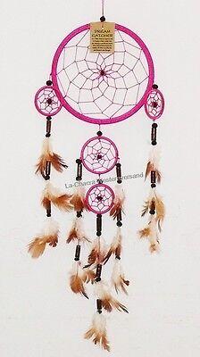 Traumfänger D= 8,0 cm pink Dreamcatcher Perlen Indianer Western Federn Deko