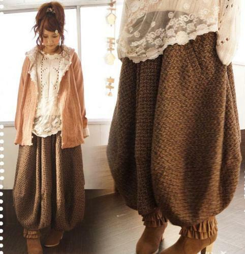 Winter Warm Womens Wool Blend Knitting Lantern Skirt Wide Legs Loose Dress Pants