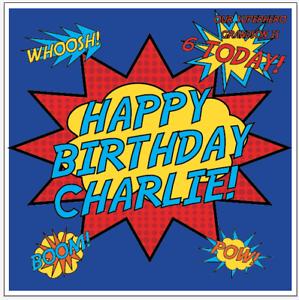 Personalised 4th 5th 6th 7th birthday card boys superhero Any Age Son Grandson