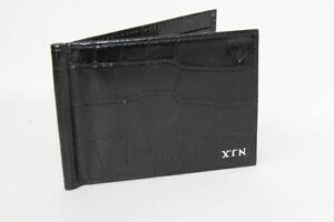 ASPINAL-OF-LONDON-Shine-Black-Croc-Leather-Double-Fold-Card-Case-Embossed-NEW
