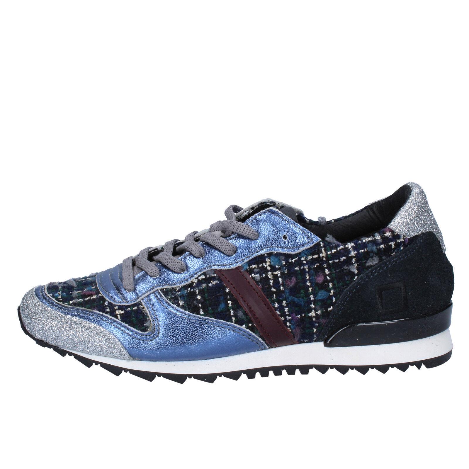 women's shoes D.A.T.E. ( date ) 6,5 () sneakers blue silver textile BX59-37