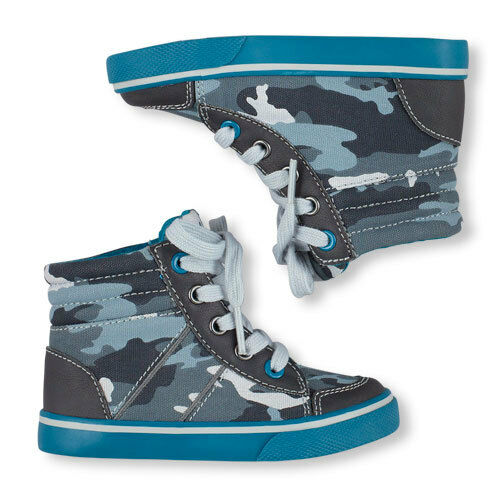 New Children/'s Place Toddler Boys Kids Camo Hi-top Sneakers Lace Up 8 9 10 11