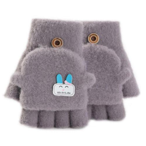 Toddler Kids Winter Plush Knit Cartoon Rabbit Applique Convertible Flip Gloves