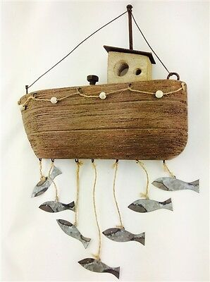 Wooden Fisherman's Boat with Hanging Tin Fish Wall Art * Rustic Coastal Gift