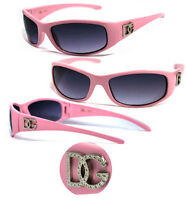 Discounted Womens Wrap Around Face Designer Sunglasses Dg Logo - Pink Frame Dg83