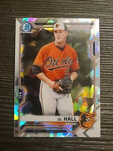 2021 Bowman Prospects Chrome Atomic #BCP-122 DL Hall - Baltimore Orioles