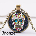 Fashion New Cabochon Glass Argent / Bronze / Pendentif Noir Collier Sugar Skull