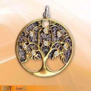 Echt-etNox-Lebensbaum-Anhaenger-Silber-Teilvergoldet-Gothic-Schmuck-NEU