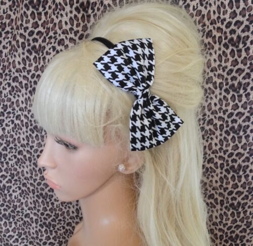 """BLACK WHITE HOUNDSTOOTH CHECK COTTON FABRIC 5/"""" SIDE BOW ALICE HAIR HEAD BAND"""