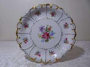DDR Design Ilmenau Porzellan Zierteller Prunkteller - Vintage - Blüten - 34,5 cm