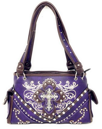 Premium Rhinestone Cross Western Floral Embroidery Concealed Carry Handbag Purse