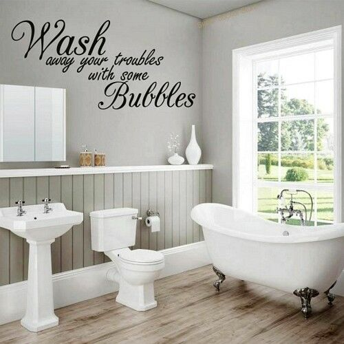 Wash away your troubles....Quote Wall Stickers Art Bathroom Removable Decals DIY