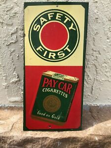 Vintage-Pay-Car-Cigarette-Tobacco-Tin-Door-Push-Sign-Cigar-Pipe-Chewing