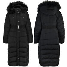 b64e57bfd Wolf Pax Girls Black White Fur Trim Padded Parka Jacket Outdoor ...