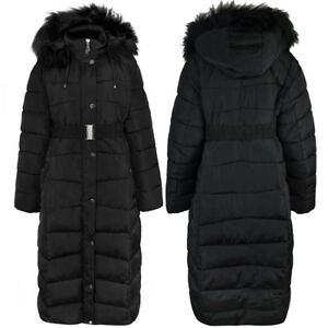 f20ab5f9c052b New Womens Ladies Plus Size Long Quilted Padded Winter Jacket Coat ...