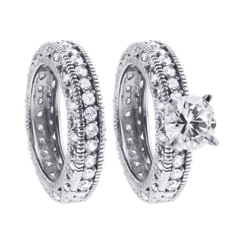 9 925 Sterling Silver CZ Cubic Zirconia Engagement Ring Wedding Band Set Size 7
