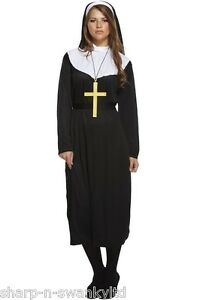 Ladies-Traditional-Catholic-Nun-Religious-Fancy-Dress-Costume-Outfit-amp-Plus-Size
