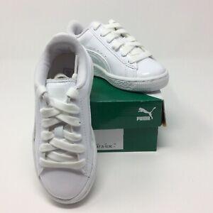 size 40 2ca8e 77fcd Details about PUMA Kids' Boy Girl Basket Classic Patent Sneaker Puma White  Sz 10.5C 362247 03