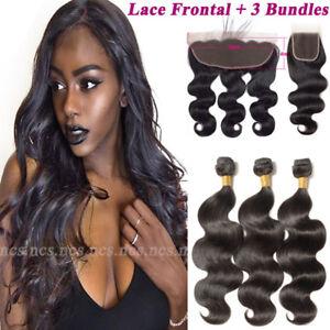 9a brazilian virgin human hair weave 3 bundles with frontal lace image is loading 9a brazilian virgin human hair weave 3 bundles pmusecretfo Image collections