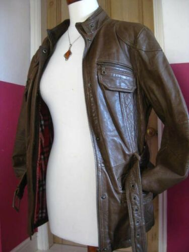 in in Next Ladies 10 Uk vera con rivestimento pelle cintura marrone Size pelle Biker con 12 I78SwUqR