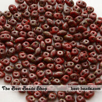 25g (300pcs) Picasso Wine Red Super Duo Czech Glass Seed Beads 5x2.5mm