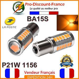 2-x-ampoule-33-LED-ORANGE-BA15S-1156-P21W-VOITURE-Feux-de-Jour-SMD-clignotant