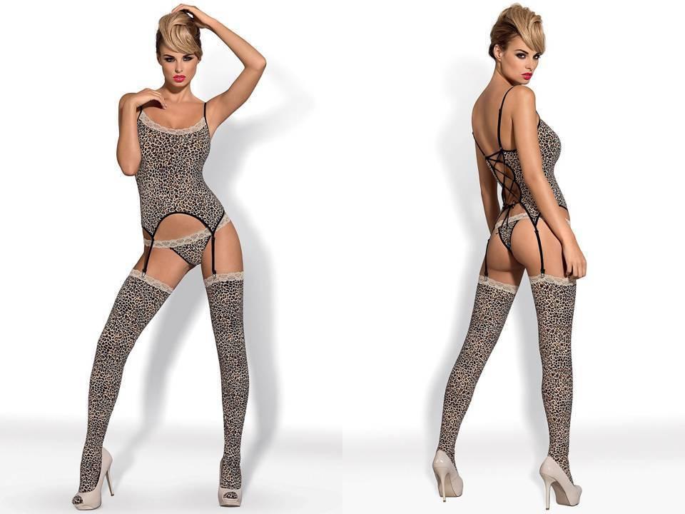 Obsessive - Jungirl, Cami mit Strumpfhalter, String und Strümpfe - Größe L XL