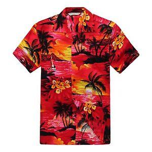 Men-Aloha-Shirt-Cruise-Tropical-Luau-Beach-Hawaiian-Hawaii-Rayon-Sunset-Red