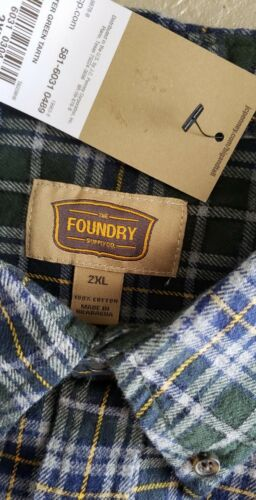 New mens XLT 2XL 2XLT 4XL Foundry shirt flannel plaid long green blue big /& tall
