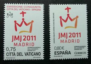 [SJ] Vatican Spain Joint Issue 26th World Youth Madrid 2011 (stamp pair) MNH