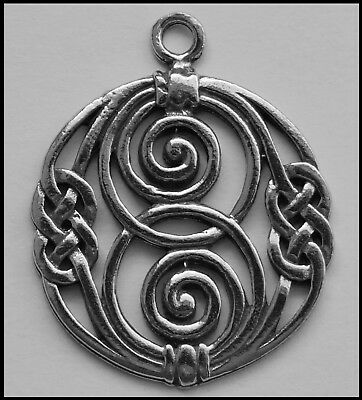 PEWTER CHARM #380 CELTIC Double SPIRAL Circle Knot (32mm x 29mm) 1 bail
