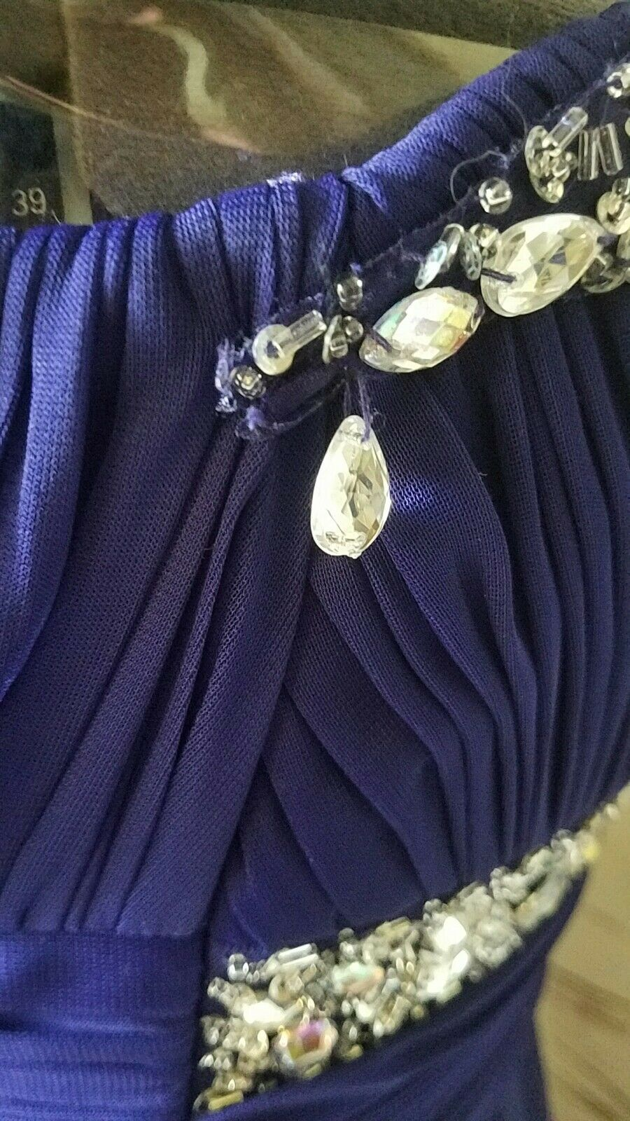 Cache sz sz sz 8 Purple Beaded Long Formal Evening Gown Dress Strapless Embellished 981697