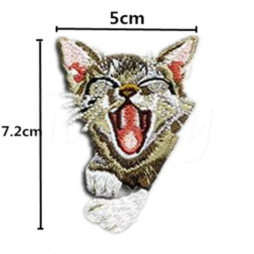1pc Cat Head Embroidered Iron On Patch Badge Bag Hat Fabric Applique DIY Craft