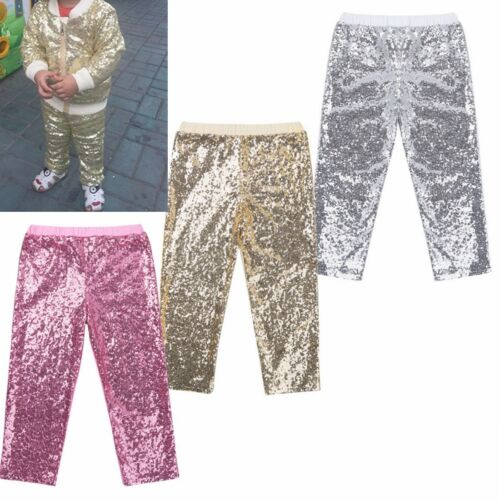 Toddler Girls Boys Kids Sequins Leggings Party Dance Shiny Pants Trousers 12M-8Y