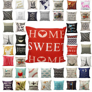 Fashion Vintage Soft Linen Pillow Case Sofa Waist Throw Cushion Cover Home Decor