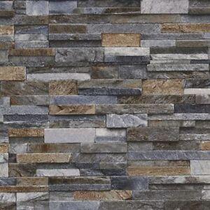 3d Slate Stone Brick Effect Wallpaper Vinyl Textured Grey Bronze