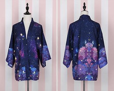 Women's  New Summer HanFu   Bathrobe Yukata Cotton Blue Sky Stars Galaxy