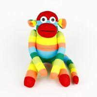 Handmade Red Face Rainbow Striped Sock Monkey Stuffed Animals Doll Baby Toys