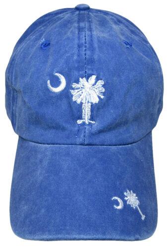 South Carolina Palmetto Faded Blue Washed Embroidered Baseball Hat Cap RUF